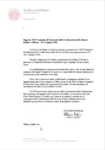 4 luglio 2017 Accoglienza del Cammino Nazionale del 2018 dal Vicario Generale