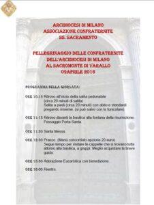 Pellegrinaggio al Sacro Monte di Varallo 09 aprile 2016